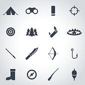 Vector black hunting icon set