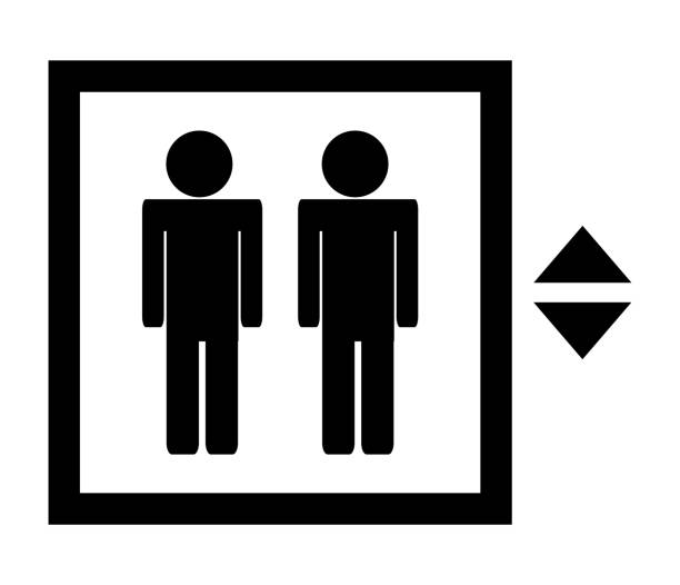 vector black icon of elevator or lift isolated on white background - wayfinding icons stock illustrations, clip art, cartoons, & icons