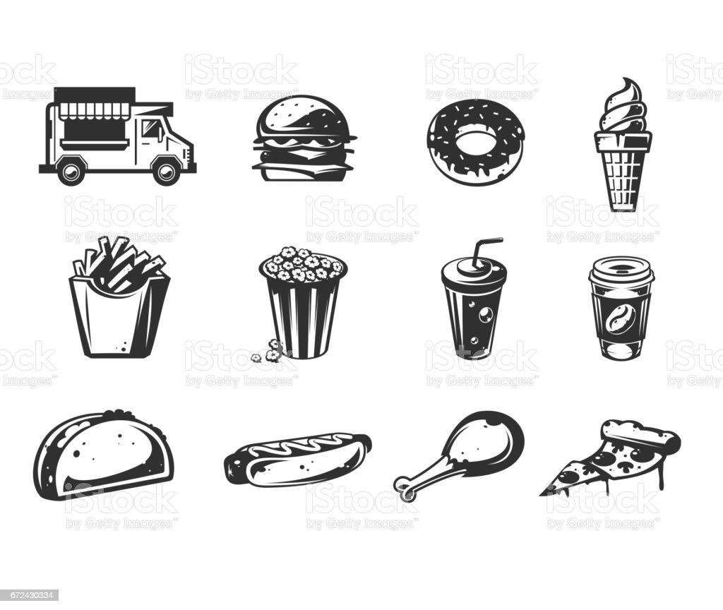 Icons vector preto - carro de entrega rápida de alimentos ou caminhão de comida, conjunto de ícones de vários produtos de fast-food - ilustração de arte em vetor