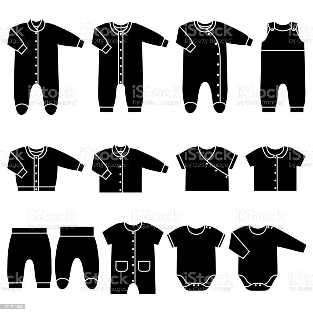 Vector Black Icons Of Baby Clothes Stock Vector Art More Images Of