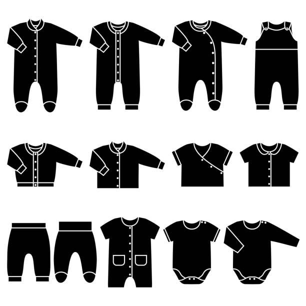 vector black icons of baby clothes. - bodysuit stock-grafiken, -clipart, -cartoons und -symbole