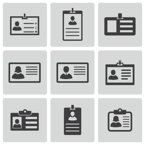 Vector black id card icons set Vector black id card icons set on white background id card stock illustrations