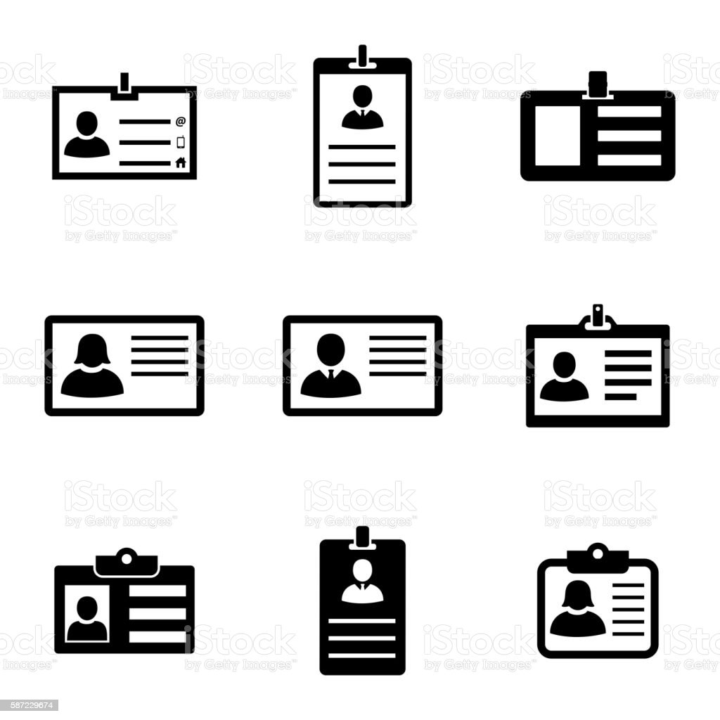 Vector black id card icons set vector art illustration