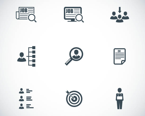 Vector black job search icons set Vector black job search icons set on white background vacancy stock illustrations