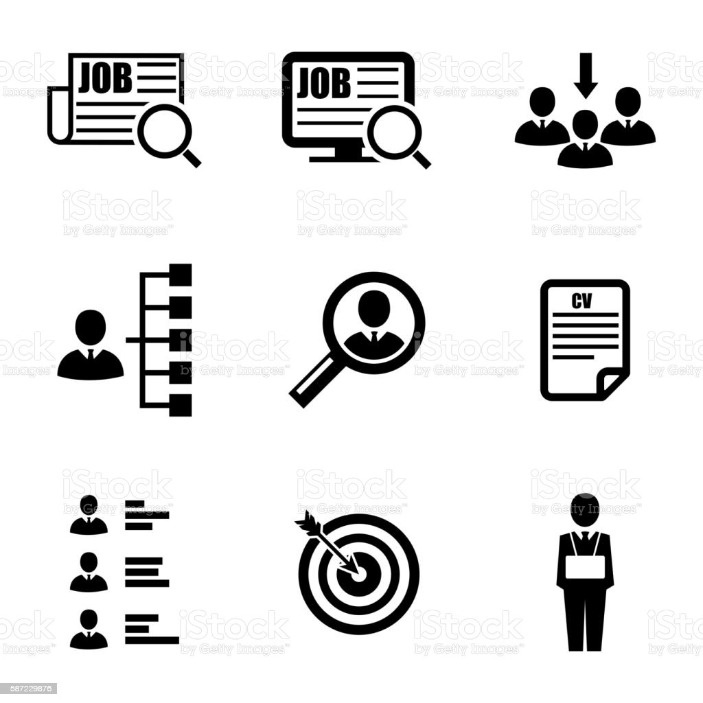 Vector black job search icons set vector art illustration