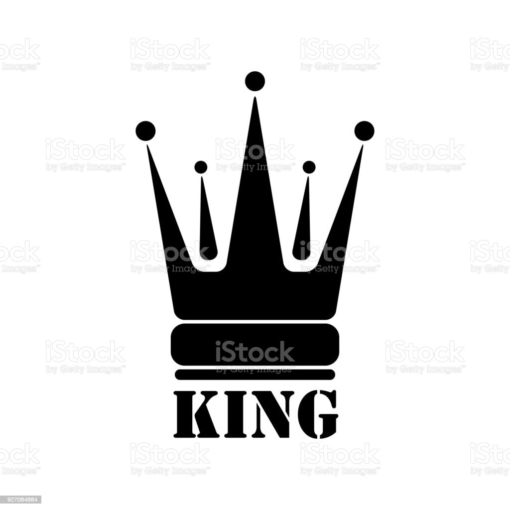 Vector black king crown icons on white background illustration
