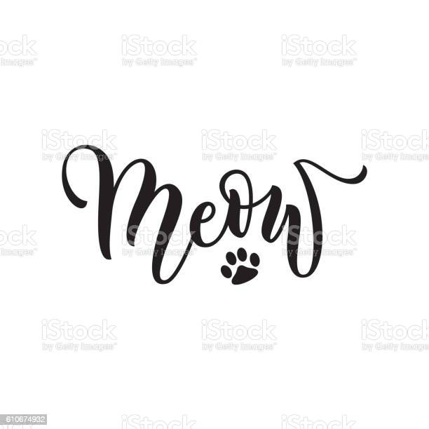 Vector black lettering meow with cute pink cat paw vector id610674932?b=1&k=6&m=610674932&s=612x612&h=0bc4vctnjog6rxne02qak2wivsrpx8lycbnrdldbdao=