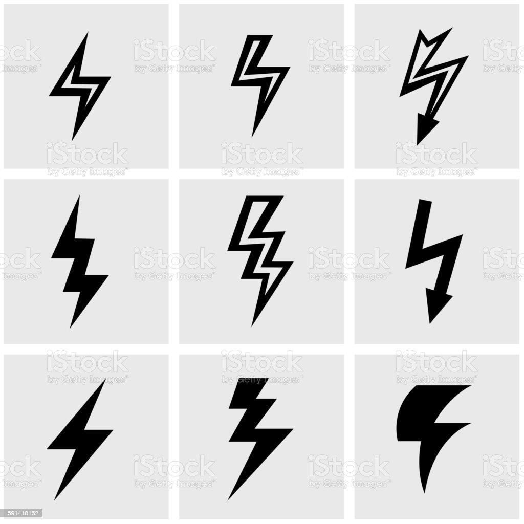 Vector black lightning icon set vector art illustration