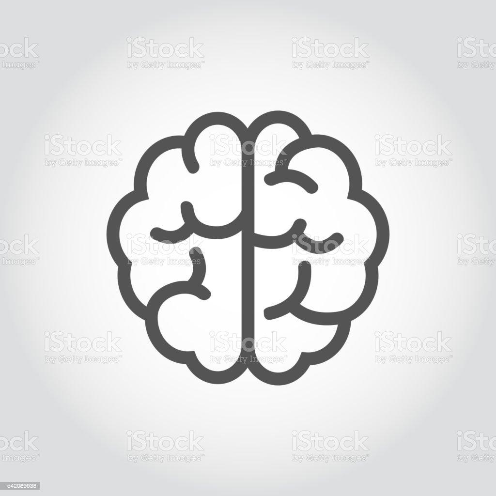 Cerveau, icône Vecteur noir ligne. - Illustration vectorielle