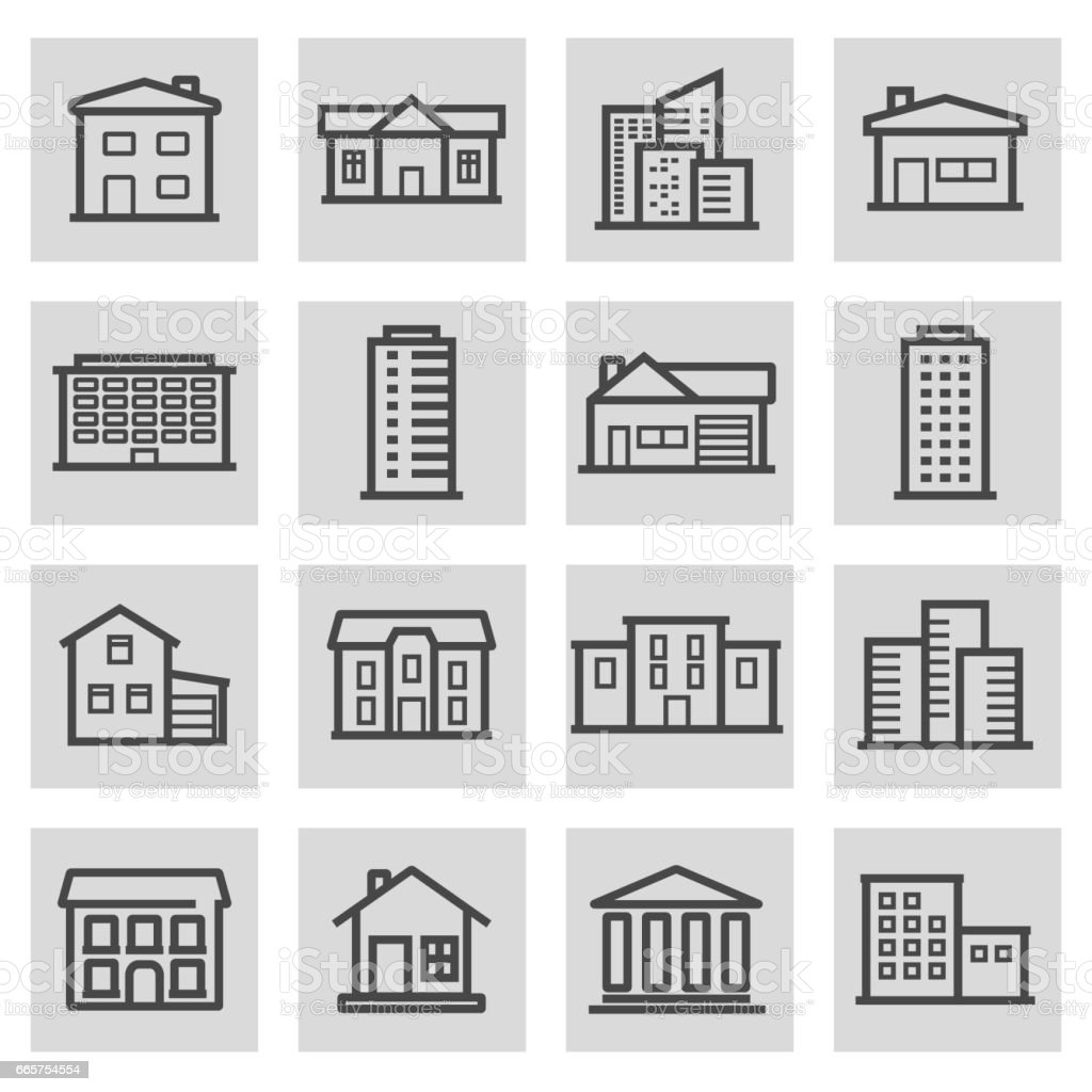 Vector black line building icons set vector art illustration