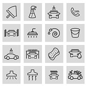Vector black line car wash icons set