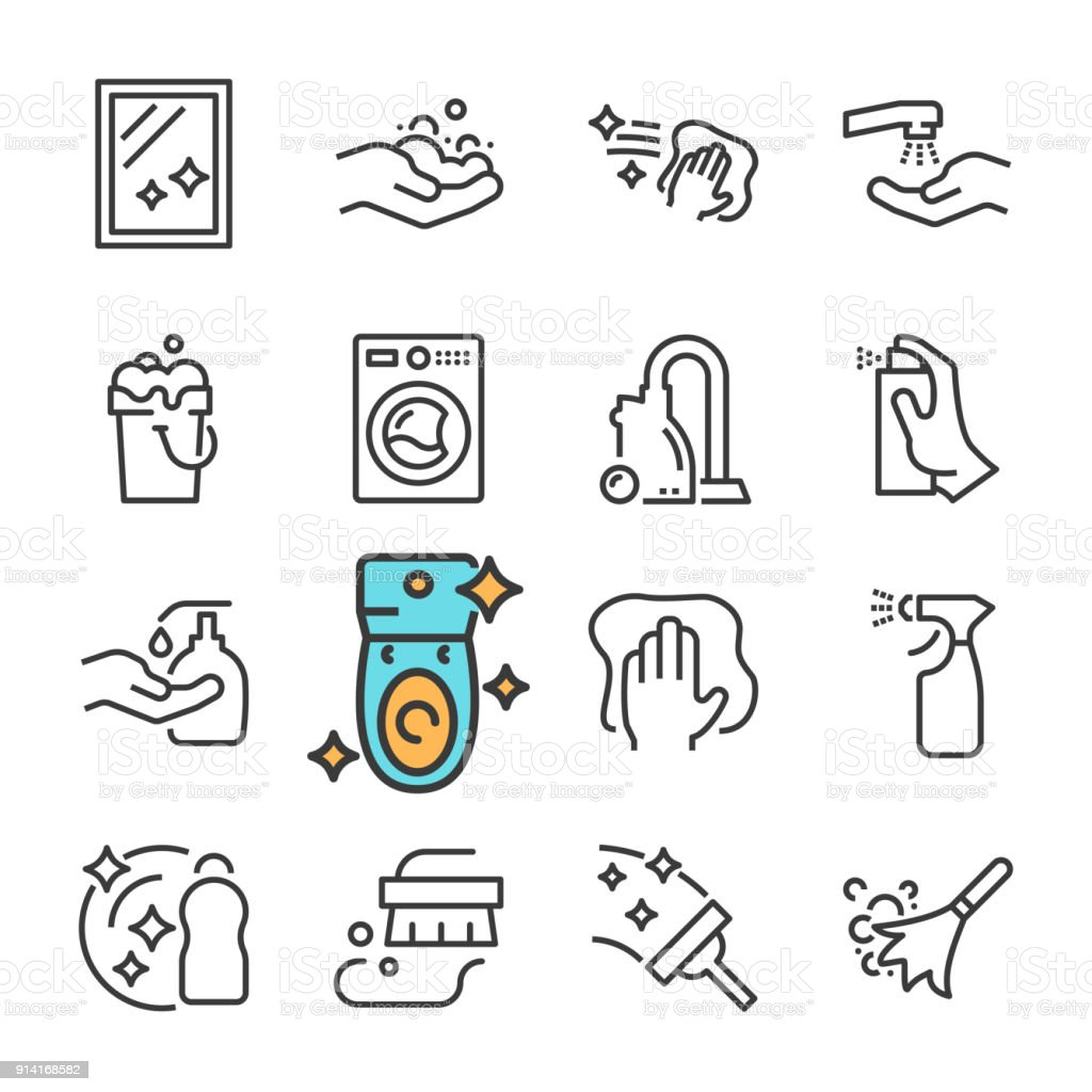 vector black line cleaning icons set includes such icons as clean