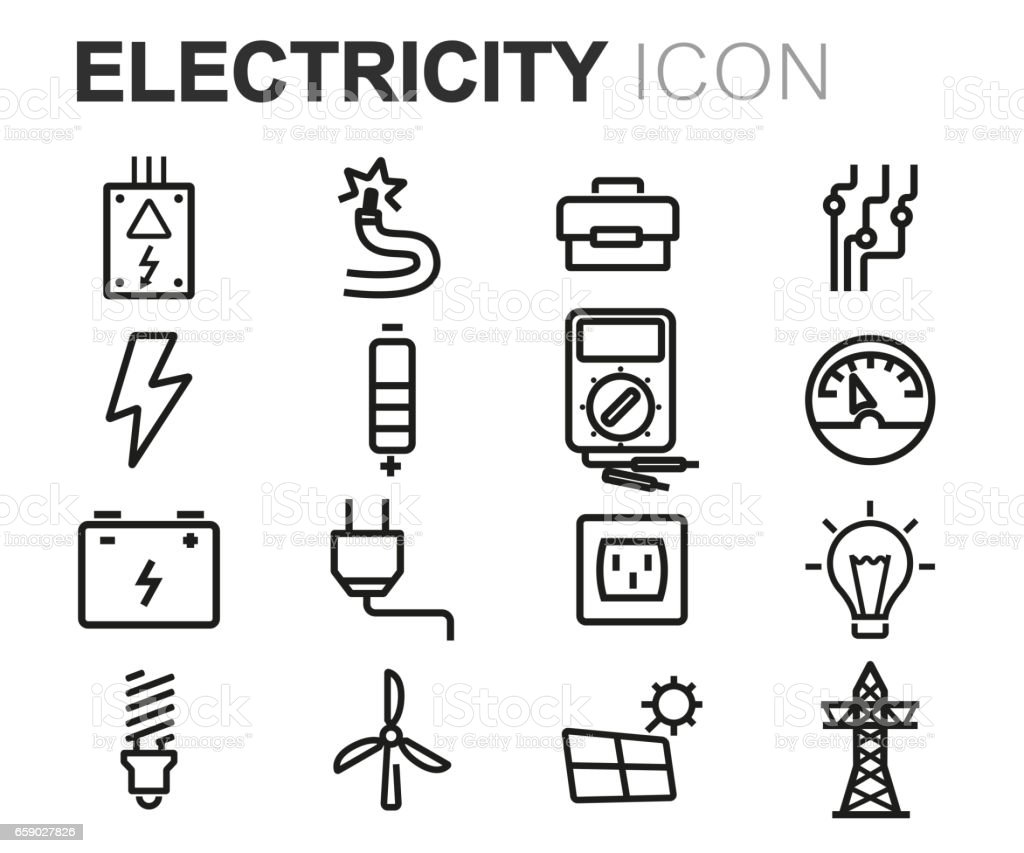 Vector black line electricity icons set royalty-free vector black line electricity icons set stock vector art & more images of battery