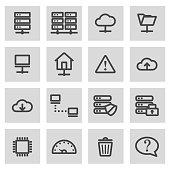 Vector black line ftp icons set