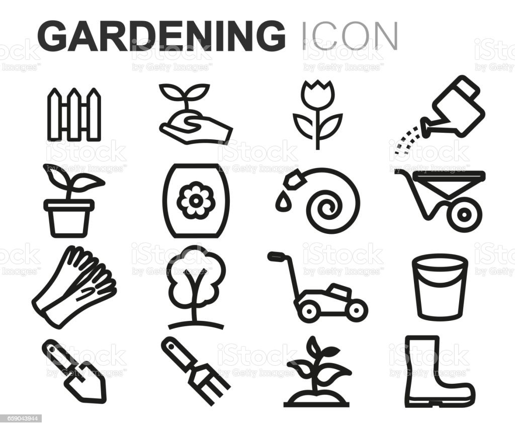 Vector black line gardening icons set royalty-free vector black line gardening icons set stock vector art & more images of belarus