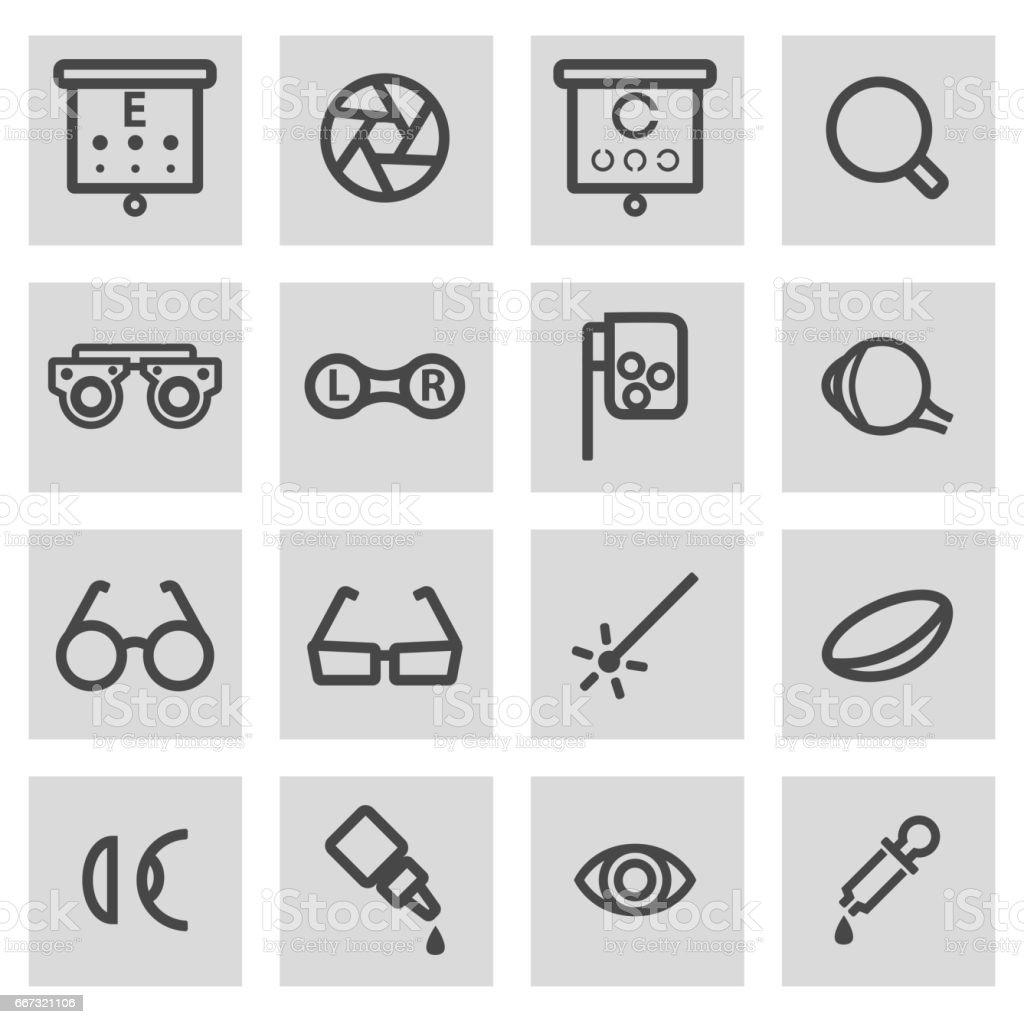Vector black line optometry icons set vector art illustration