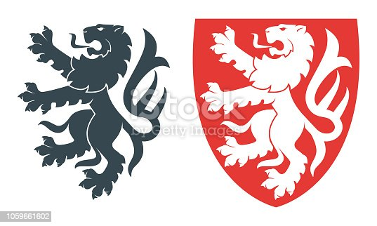 Vector illustration of black lion for heraldry or tattoo. Vintage design heraldic symbols and elements