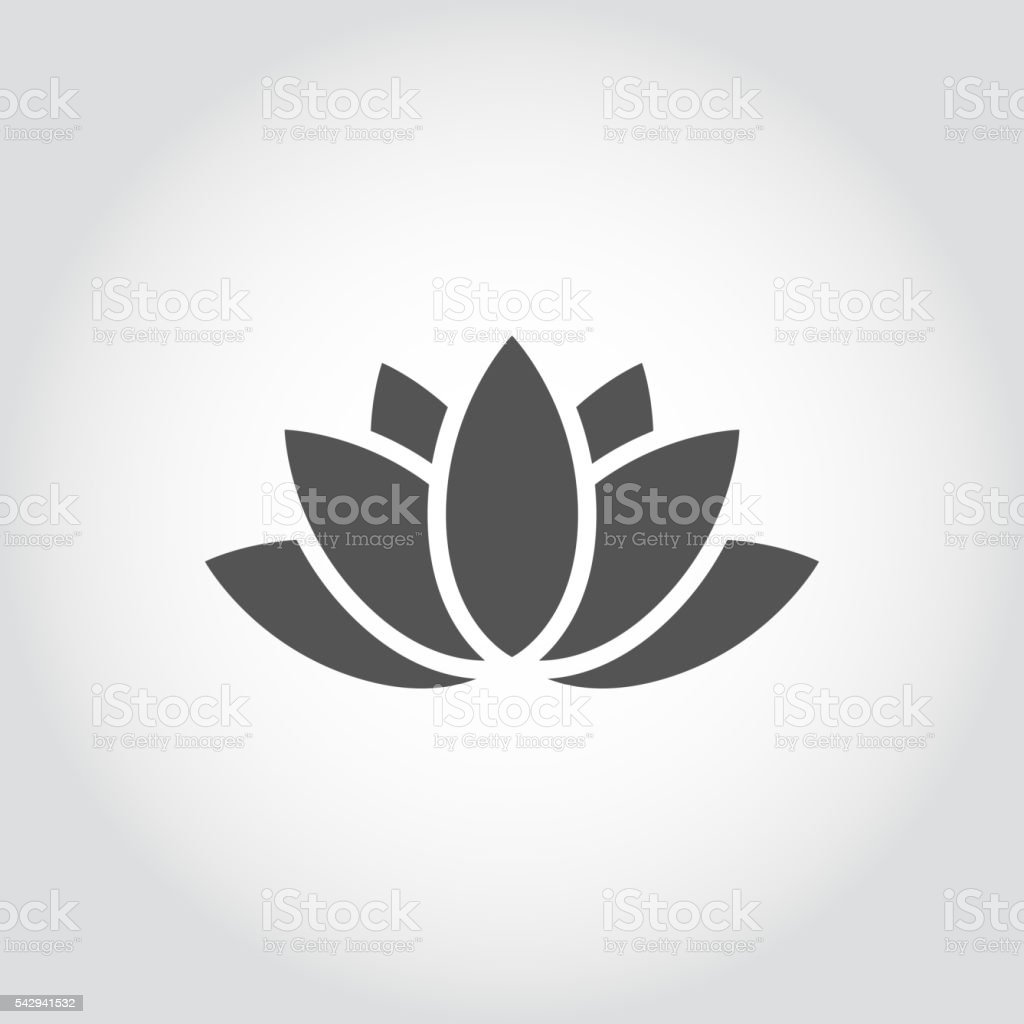 Vector black lotus icon on grey background. vector art illustration