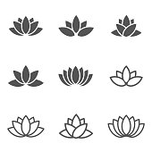 Vector black lotus icons set on white background.