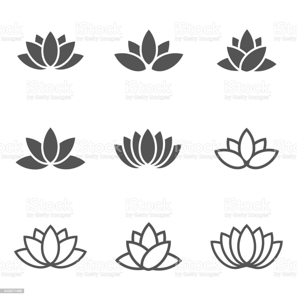 Vector black lotus icons set on white background. vector art illustration