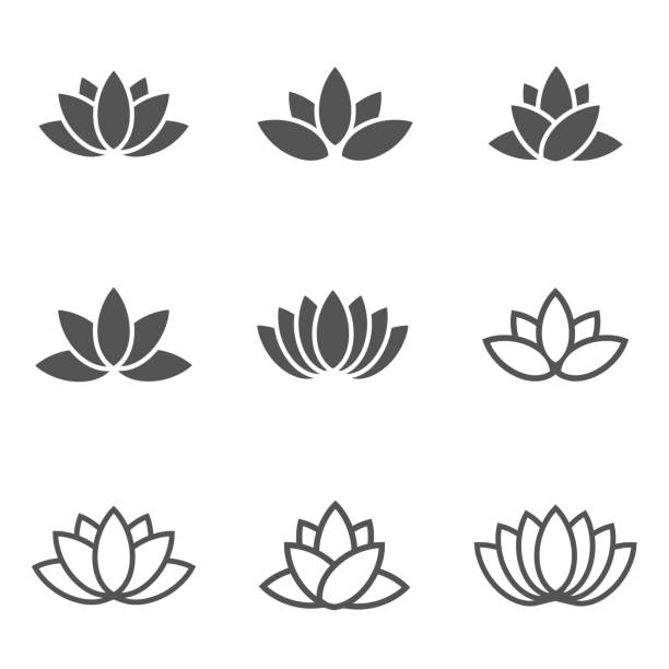 stockillustraties, clipart, cartoons en iconen met vector black lotus icons set on white background. - spa