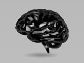 Vector black low poly brain illustration in 3D style