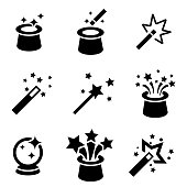 Vector black magic icons set.