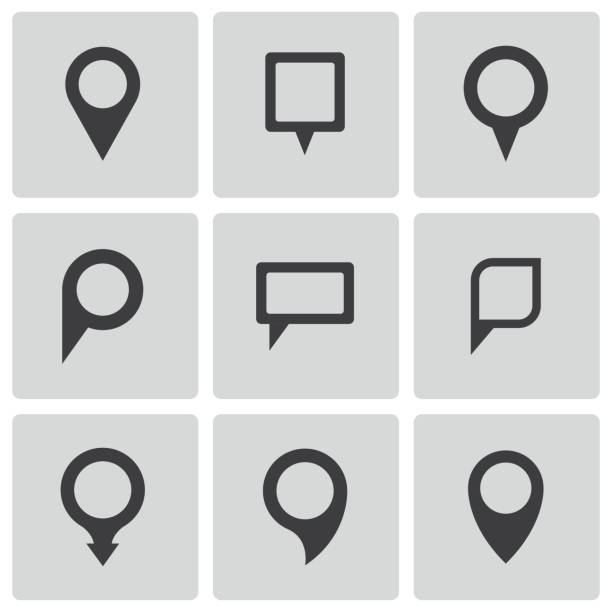 vector black map pointer icons set - acute angle stock illustrations