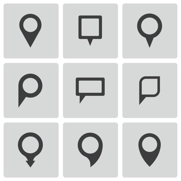 vektor schwarz karte der zeiger icons set - sehenswürdigkeit stock-grafiken, -clipart, -cartoons und -symbole