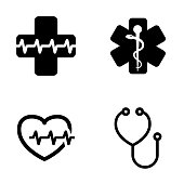 Vector black medical symbol icons set