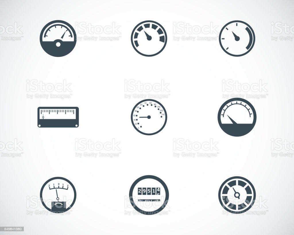 Vector black meter icons set vector art illustration