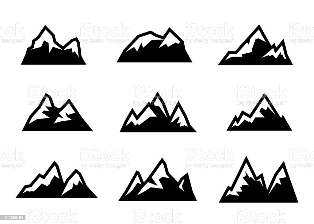 Vector black mountain icons set vector art illustration