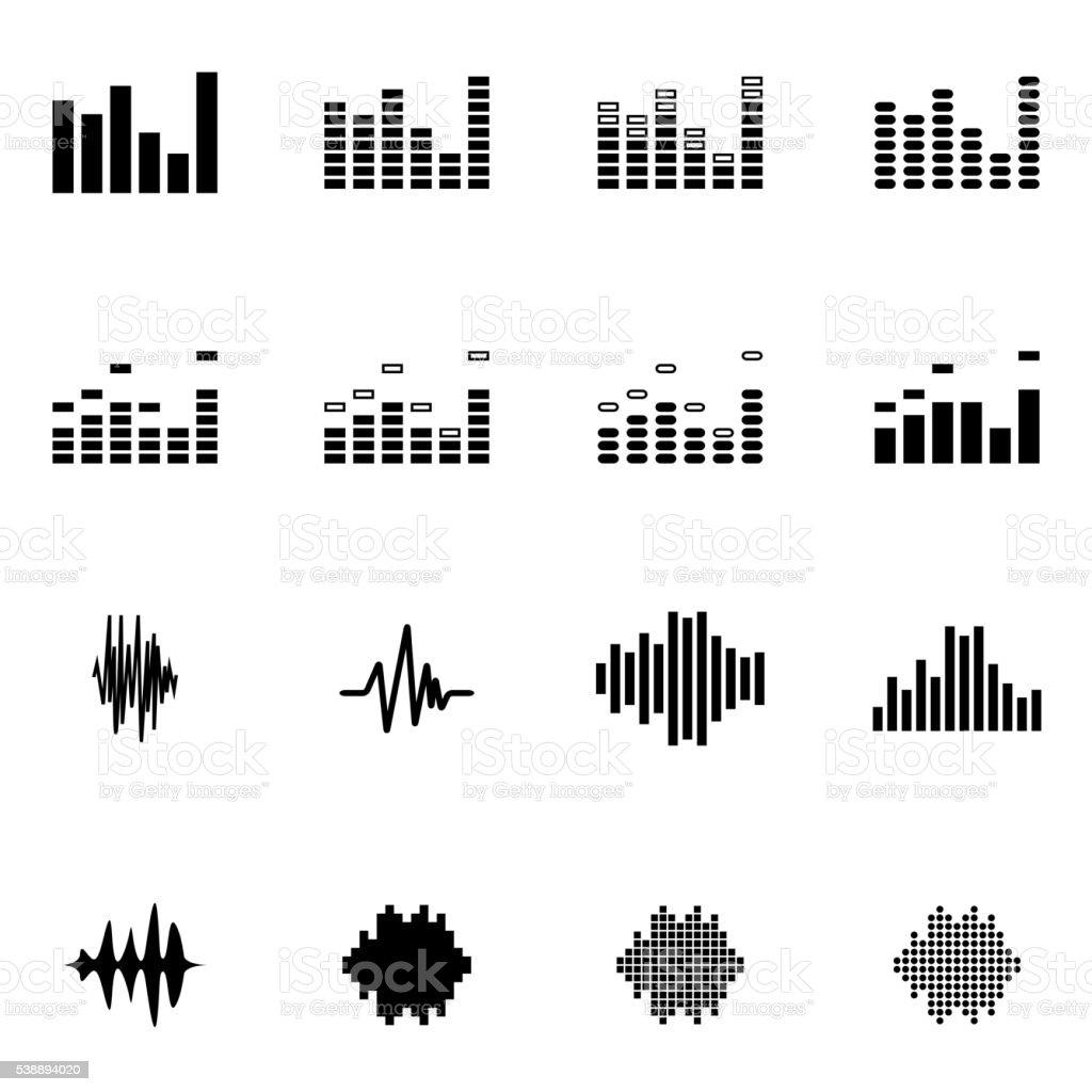 Vector black music soundwave icon set vector art illustration