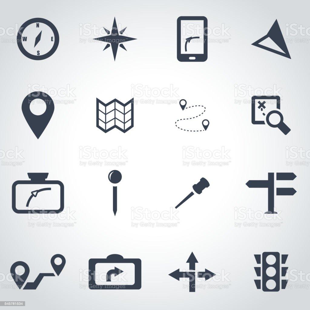 Vector black navigation icon set vector art illustration