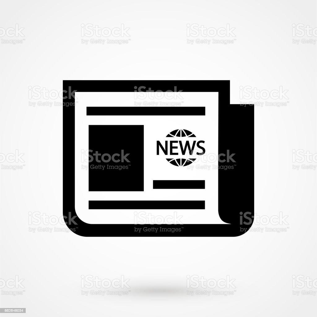 vector black newspaper icon on white background vector art illustration