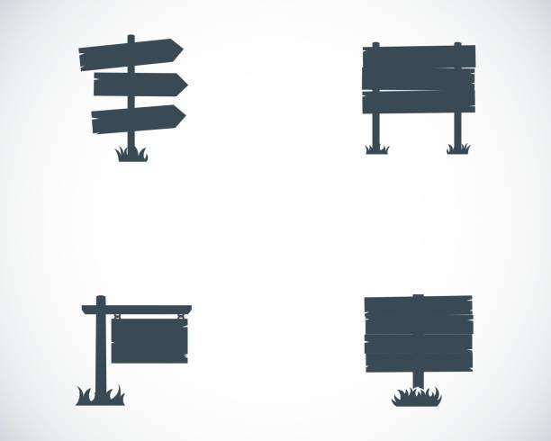 stockillustraties, clipart, cartoons en iconen met vector black old wood sign set - wegwijzer bord