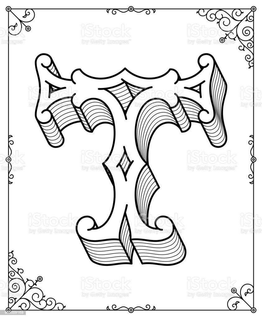 Vector Black On White Letter T Stock Illustration