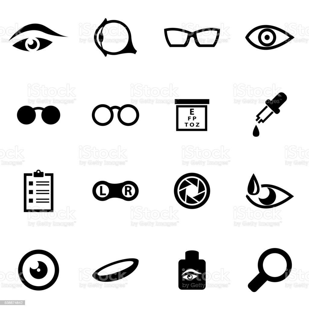 Vector black optometry icon set vector art illustration