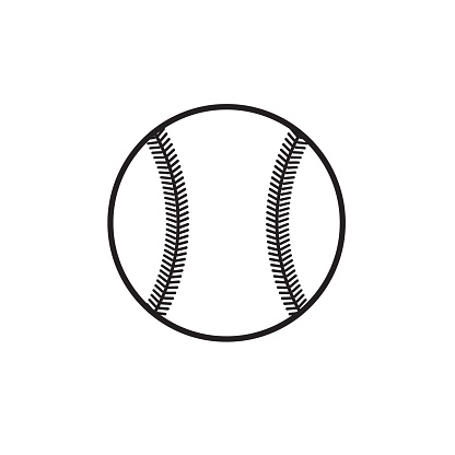 Vector black outline baseball ball