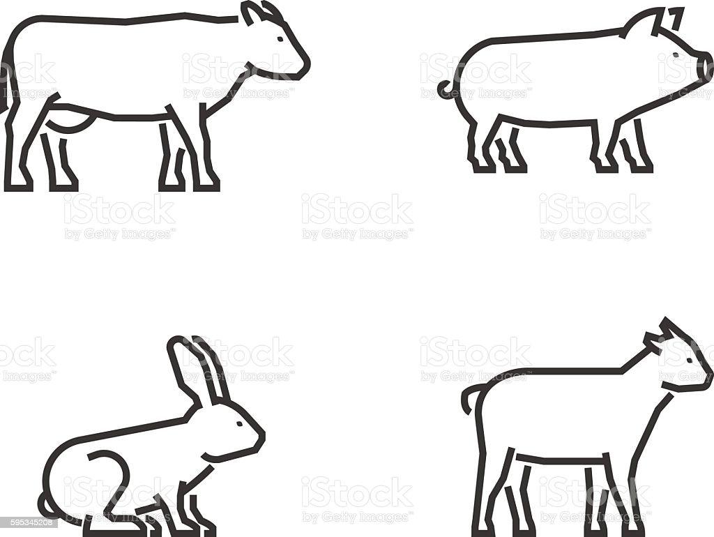 vector black outline farm animals stock vector art 595345208 istock