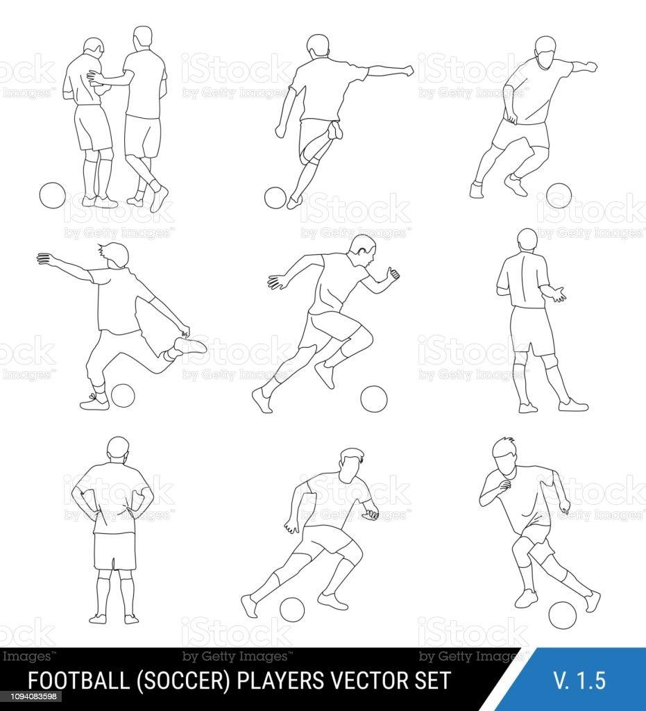 Silhuetas de contorno preto de vetor de jogadores de futebol no fundo branco. Estilo gráfico simplificado. Diferentes silhuetas de jogadores de futebol e árbitro de futebol. Conjunto de vetores de futebol. - ilustração de arte em vetor