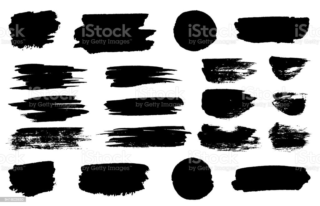 Vector black paint brush spots, highlighter lines or felt-tip pen marker horizontal blobs. Marker pen or brushstrokes and dashes. Ink smudge abstract shape stains and smear set with texture - Royalty-free Abstract stock vector