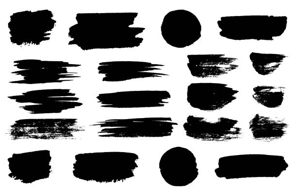 vector black paint brush spots, highlighter lines or felt-tip pen marker horizontal blobs. marker pen or brushstrokes and dashes. ink smudge abstract shape stains and smear set with texture - farba stock illustrations