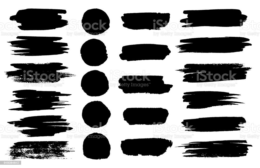 Vector black paint brush spots, highlighter lines or felt-tip pen marker horizontal blobs. Marker pen or brushstrokes and dashes. Ink smudge abstract shape stains and smear set with texture vector art illustration
