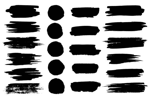 vector black paint brush spots, highlighter lines or felt-tip pen marker horizontal blobs. marker pen or brushstrokes and dashes. ink smudge abstract shape stains and smear set with texture - szczotkować stock illustrations