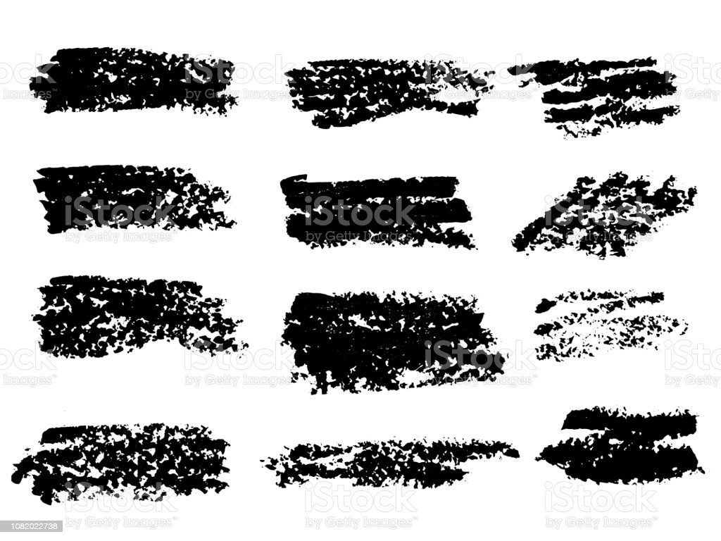 Vector black paint, ink brush stroke, brush, line or texture. Dirty...