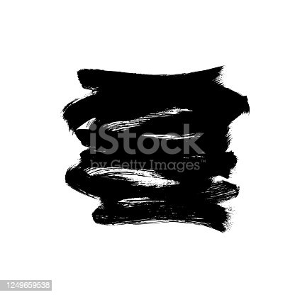 692319500 istock photo Vector black paint, ink brush stroke or shape. Dirty grunge design element, box or background for text. 1249659538