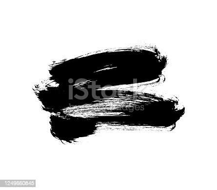 692319500 istock photo Vector black paint, ink brush stroke or shape. Dirty grunge design element, box or background for text. 1249660845