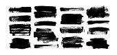 Vector black paint, rectangular ink brush stroke and shapes set. Dirty grunge design element, box or background for text. Grungy smears and rough stains. Hand drawn ink illustration isolated on white