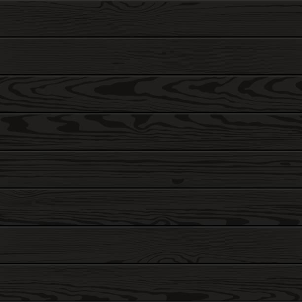 Vector black painted wood texture vector art illustration